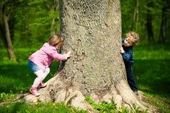 Muchacha y muchacho que juegan escondite Imágenes de archivo libres de regalías