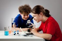 Muchacha y muchacho que usa el microscopio Imagen de archivo libre de regalías