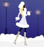 muchacha y nieve Fotografía de archivo libre de regalías