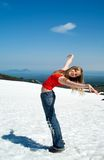 Muchacha y nieve Fotos de archivo