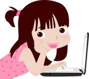 Muchacha y ordenador ilustración del vector
