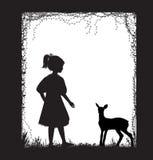 Muchacha y pequeña silueta de los ciervos, historia del bosque, blanco y negro, memorias de la niñez, ilustración del vector