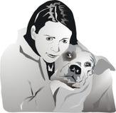 Muchacha y perro Imagen de archivo