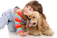 Muchacha y perro Imágenes de archivo libres de regalías