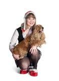 Muchacha y perro de Santa Fotos de archivo libres de regalías