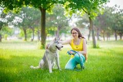 Muchacha y perro en el césped Imagen de archivo libre de regalías