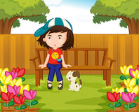 Muchacha y perro en el jardín stock de ilustración