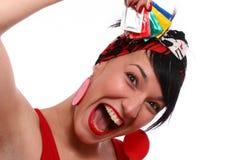 Muchacha y preservativo Foto de archivo libre de regalías