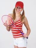 Muchacha y raqueta Imagen de archivo libre de regalías