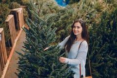 Muchacha y árbol de navidad Foto de archivo libre de regalías