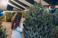 Muchacha y árbol de navidad Fotos de archivo