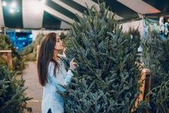 Muchacha y árbol de navidad Fotografía de archivo libre de regalías