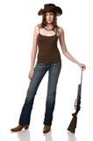 Muchacha y su arma Imagen de archivo