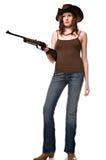 Muchacha y su arma Foto de archivo libre de regalías