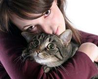 Muchacha y su gato Fotos de archivo