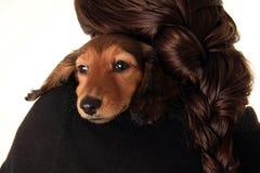 Muchacha y su perrito Imagen de archivo