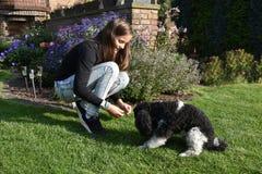 Muchacha y su perro de caniche Foto de archivo