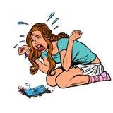 Muchacha y teléfono quebrado, griterío gritador stock de ilustración