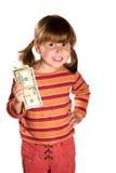 Muchacha y veinte dólares imagen de archivo libre de regalías