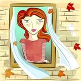 Muchacha y ventana stock de ilustración