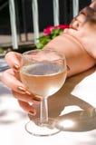 Muchacha y vino Foto de archivo