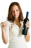 Muchacha y vino rojo Imagenes de archivo