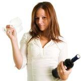 Muchacha y vino rojo Imágenes de archivo libres de regalías