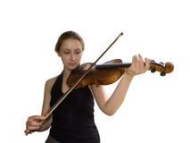 Muchacha y violín Imagen de archivo libre de regalías