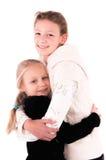 2 muchachas adolescentes en un fondo blanco Fotos de archivo