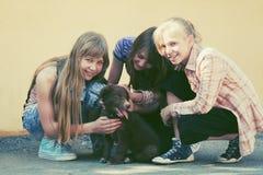 Muchachas adolescentes felices con un perrito en calle de la ciudad Imagen de archivo libre de regalías