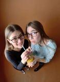 Muchachas adolescentes que beben junto Fotografía de archivo