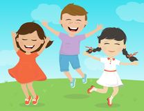 Muchachas alegres y un muchacho que sonríe y que salta ilustración del vector