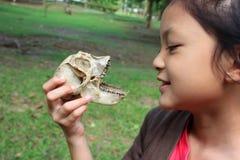 Muchachas asiáticas con los huesos del mono Foto de archivo