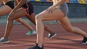 Muchachas atléticas que hacen las estocadas limbering para arriba antes del maratón corriente, alcohol de los deportes metrajes