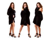Muchachas atractivas hermosas de los tríos en el abrigo de pieles aislado Fotos de archivo