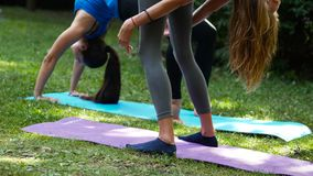 Muchachas atractivas que hacen chakrasana de la yoga al aire libre metrajes