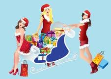 Muchachas con compras Foto de archivo libre de regalías