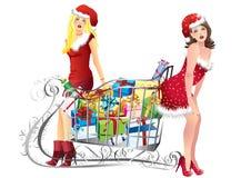 Muchachas con compras Imagen de archivo libre de regalías