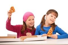 Muchachas con la pizza Imagenes de archivo