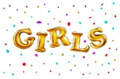 Muchachas con los globos que celebran en el partido Globos hermosos en confeti que lanza de oro brillante, divirtiéndose con oro  Foto de archivo libre de regalías