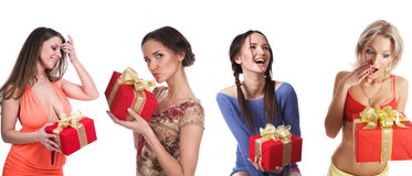 Muchachas con los regalos Imagen de archivo