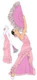 Muchachas con los ventiladores que bailan flamenco ilustración del vector
