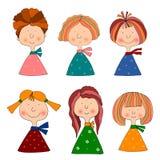 Muchachas. Conjunto de personajes de dibujos animados Imagenes de archivo