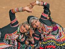 Muchachas de baile de Kalbelia de Rajasthán Foto de archivo