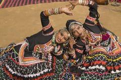 Muchachas de baile de Rajasthán Imagen de archivo