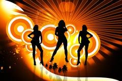 Muchachas de baile en fondo abstracto Imagen de archivo