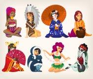 Muchachas de diversas nacionalidades ilustración del vector