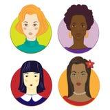 Muchachas de diversas razas stock de ilustración
