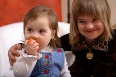 Muchachas de Down Syndrome imagen de archivo libre de regalías
