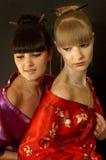 Muchachas de geisha hermosas Imagen de archivo libre de regalías